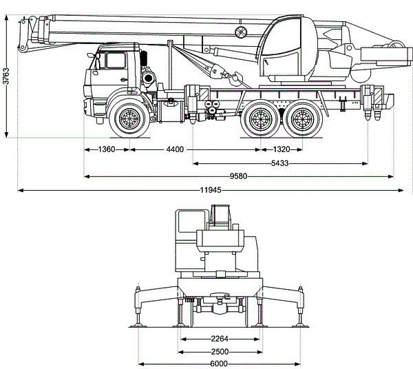 Автокран Ивановец 25 тонн технические характеристики машины Камаз