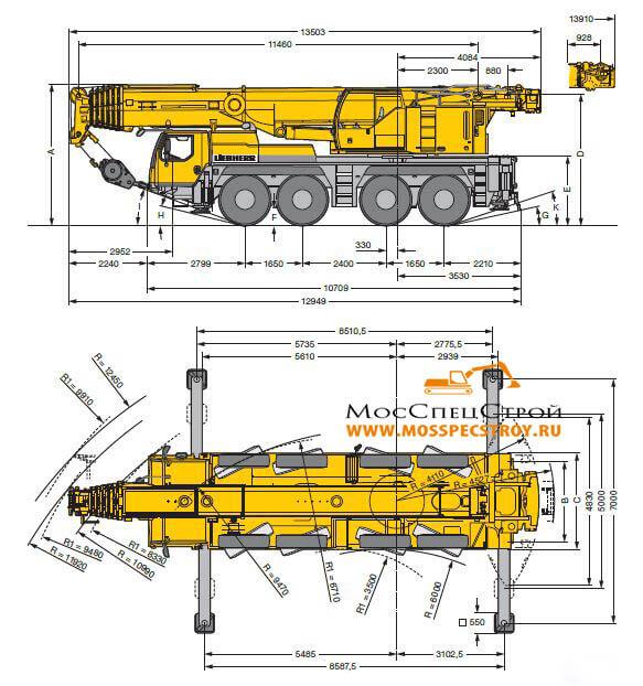 Кран Liebherr 100 тонн