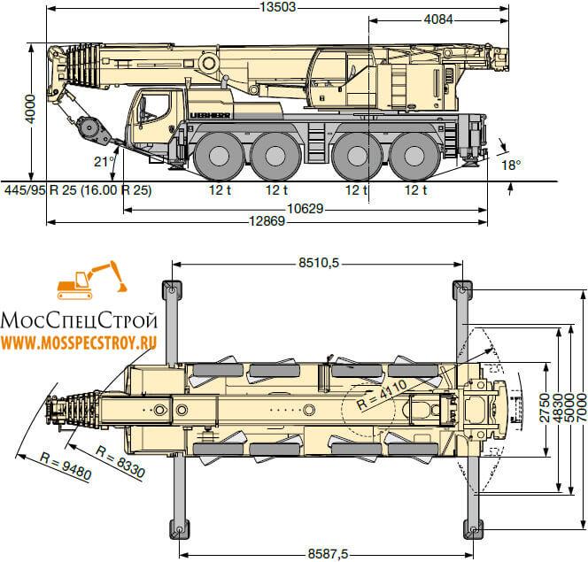 автокран Либхер 100 тонн характеристики