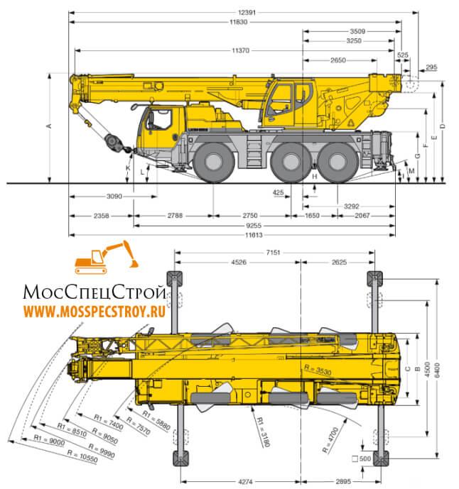 автокран Либхер 50 тонн характеристики